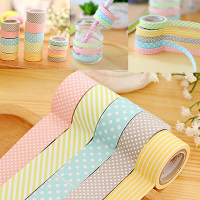 5 Rolls Colorful Washi Tape Decorative Sticky Paper Masking Tape Adhesive Sturdy