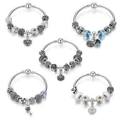 European 925 Glass Bead Charms Bracelet With Pink Crystal Fit Women Jewelry Gift