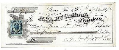 """1876 Stevens Point Wisconsin Bank Check """"Eagle"""""""