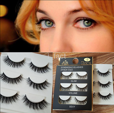 3pcs Luxurious Black Real Mink Elegant Cross Thick False Eyelashes 3D Eyelashes