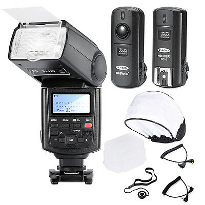 Neewer Kit NW680 E-TTL Flash + Wireless Trigger + 2 Cavi per Canon Rebel & EOS