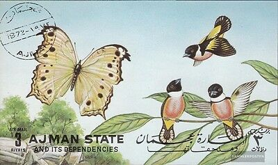 Ajman Block438 (complete issue) used 1972 Butterflies and Birds