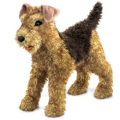 New FOLKMANIS Hand PUPPET Plush Toy AIREDALE TERRIER Stuffed Animal PUPPY DOG