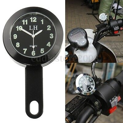 7/8'' - 1'' Motorcycle Handlebar Mount Dial Clock Watch Bracket Waterproof Black