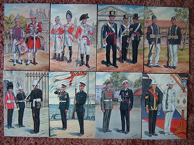 8 Card Set No 36 Military Postcards UNIFORMS OF THE ROYAL MARINES. Mint cond.