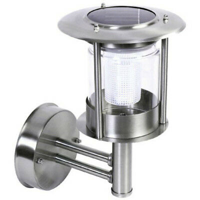 Benross Stainless Steel Wall Mounted Led Solar Powered Lantern Outdoor Light