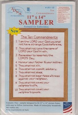 """1 Jack Dempsey """"Ten Commandments"""" 11"""" x 14"""" Sampler Stamped For  Embroidery"""