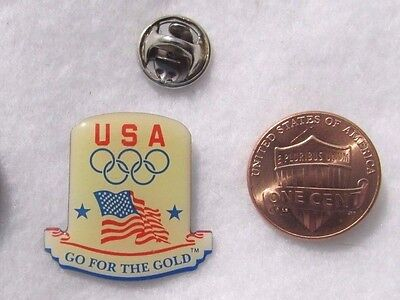 USA Go For The Gold Olympic Games America Flag Rings Lapel Pin Pinback Hat