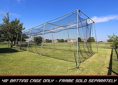 Baseball Batting Cage Net 40x12x10 #24 Twisted Poly w/ Door Opening #42ply