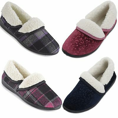 LADIES WOMENS PLUSH FAUX FUR LINED STAR EMBOSSED BOOTEE SLIPPERS GIFT UK 3-8 NEW