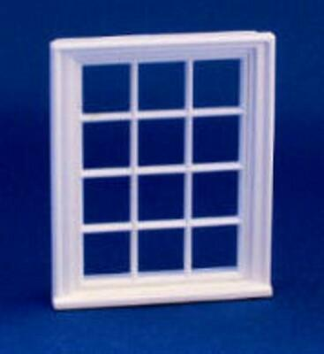 Dolls House Miniature White Plastic Victorian Window Frame 12 Pane 1:24 Scale