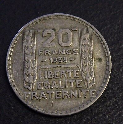 France 1938 20 Francs Silver a nice coin