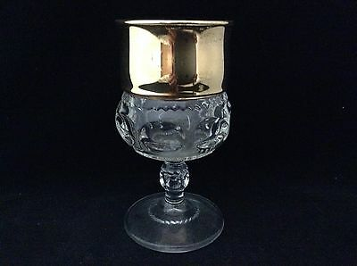 Vtg Gold Flashed Kings Crown Thumbprint Water Goblet Tiffin or Indiana Glass
