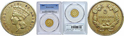 1859 $3 Gold Coin PCGS XF-45
