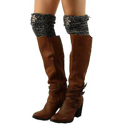 Winter Marled Knit Floral Applique Bling Boot Cuff Cuffs Liner Trim Topper Black