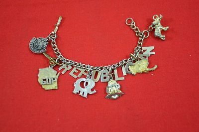 Vintage Elephant Charm Bracelet Republican GOP Costume Jewelry Wisconsin #1344