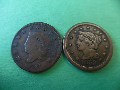 Lot of (2) Large Cents 1831, 1853  Beautiful!! K489