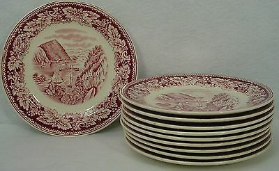 HOMER LAUGHLIN china CURRIER & IVES Red BREAD PLATE set of 10 Hudson River Crow