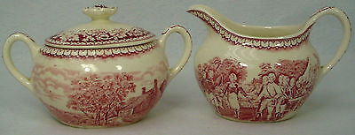 HOMER LAUGHLIN china CURRIER & IVES Red CREAMER & SUGAR BOWL with LID set