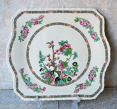 VTG Myott Staffordshire INDIAN TREE scalloped Square Luncheon Cake Plate 11.5""