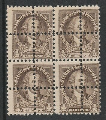 USA 3146 - 1932 WASHINGTON 1/2c block of 4  DOUBLE PERFS pair unmounted mint