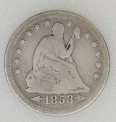 1853/4 ARROWS VG CONDITION LIBERTY SEATED 25c QUARTER. TOUGH DATE - I-6123 F