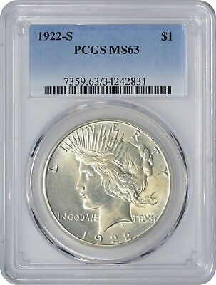 1922-S Peace Dollar MS63 PCGS Mint State 63