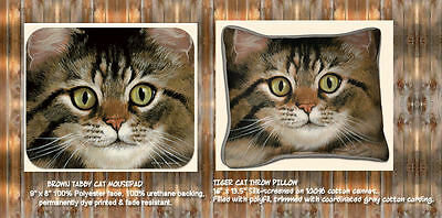 New Grey Tabby or Tiger Cat throw Pillow and matching mousepad