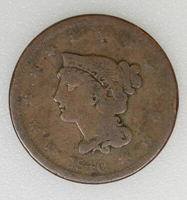 1840 Large Date Braided Hair Large Cent. Average Details. Nr - I-5485