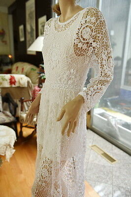Lim's Vintage 100%  All Hand Made Crochet Maxi Dress White  One Size Fits Most