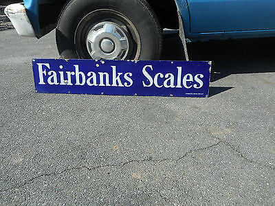 Vintage Antique Fairbanks Scales Blue Porcelain Sign Advertising 45 x 9 inches