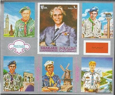 Sharjah block101 mint never hinged mnh 1971 Scouts Europe