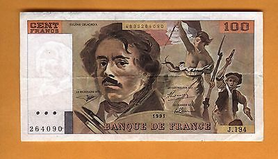 264090 Banknote France 100 Francs Vf/xf 1991 Free Shipping