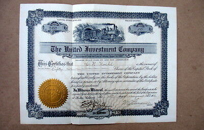 1911 Stock Certificate~The United Investment Company~Signed By Company President