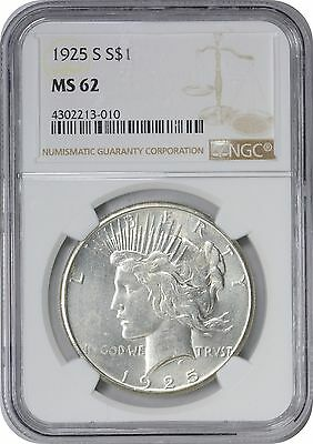 1925-S Peace Dollar MS62 NGC Mint State 62