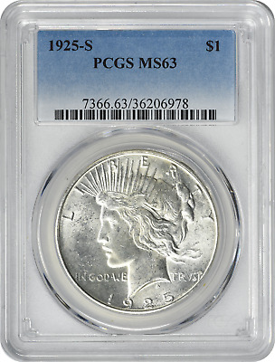 1925-S Peace Dollar MS63 PCGS Mint State 63