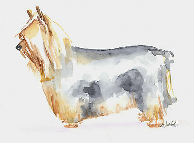 SILKY TERRIER Original Watercolor Double Matted 8x10 Ready to Frame