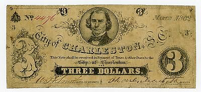 1862 $3 The City of Charleston, SOUTH CAROLINA Note - CIVIL WAR Era