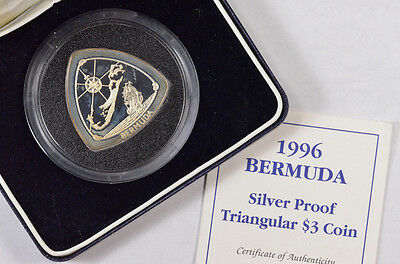 1996 Bermuda Silver Proof Triangular $3 Coin By Royal Mint W/ Coa & Box !!!