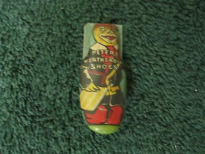 Antique PETERS WEATHER BIRD SHOES Tin Litho Advrtisng Premium CLICKER NOS