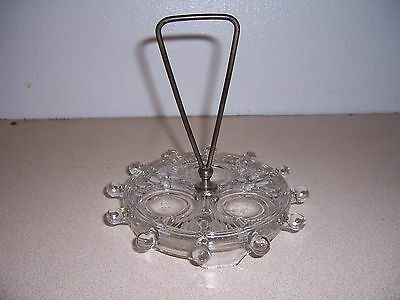 Antique Vtg Pressed Glass Ships Wheel Cruet Stand - Nautical