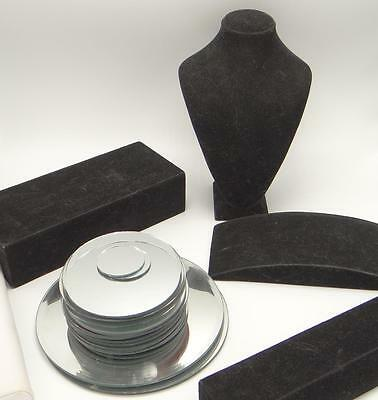Lot Jewelry Photography Stands Black Velvet Mirrors Bust Props
