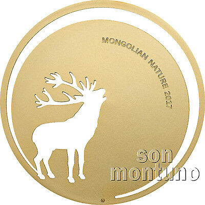 2017 Mongolian Nature - ROARING DEER - 1/2 Half Oz Silver Coin 24K Gold Gilded