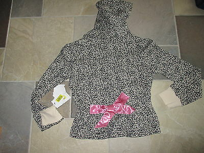 NWT L.A. KITTY  L, 10/12 Leopard Kitty Hoodie Jacket -Pink Bow-Spring Transition