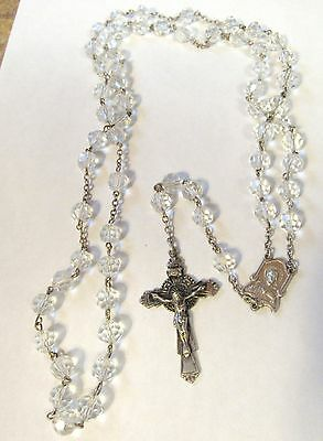 Vintage Antique Sterling Silver Religious Catholic Crystal Beads Rosary