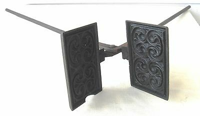 ANTIQUE Cast WROUGHT IRON Ornate DEEP WAFFLE Goro Cookie PRESS Campfire HEARTH