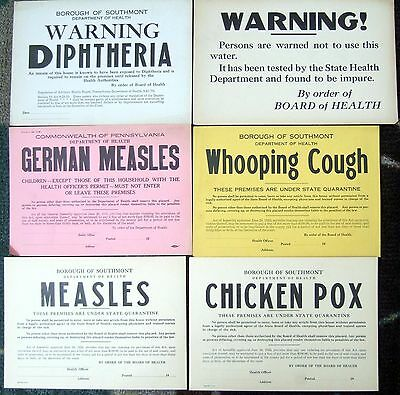6 1923 SOUTHMONT PA GERMAN Measles, POX, 7X10 Quarantine Notice Vintage Sign lot