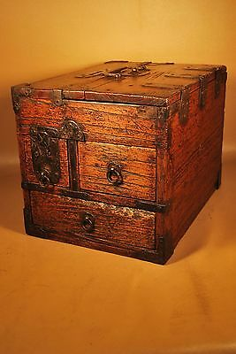 Antique 150+ Yo Edo Era Japanese Calligraphy Suzuribako Tansu Chest / Box
