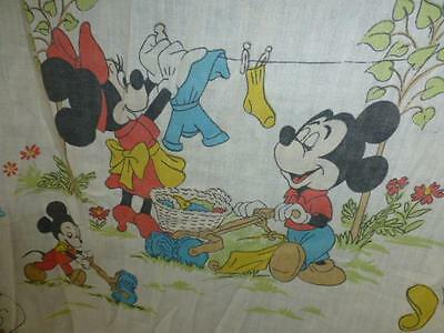 Vtg Mickey Mouse club Donald Duck Goofy fabric Walt Disney double fitted Sheet