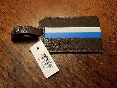 "Fossil Jett Luggage Tag Lead (Brown Blue White Stripe) 4.25"" x 2.5"" NWT! $28"